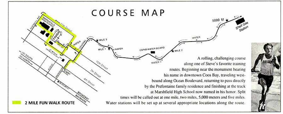 Prefontaine 10K Run Course Map